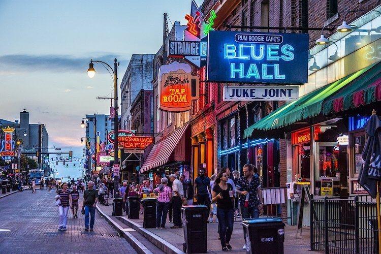 Blues Halls along Beale Street - Honeymoon in Tennessee