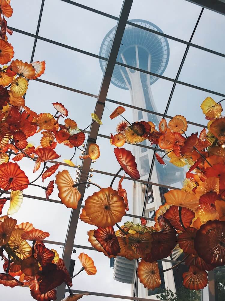 Chihuly Garden and Glass with Space Needle Overhead - Seattle Long Weekend - Trip to Seattle
