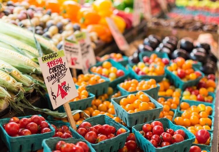 Fresh tomatoes and other produce at Pike Place Market