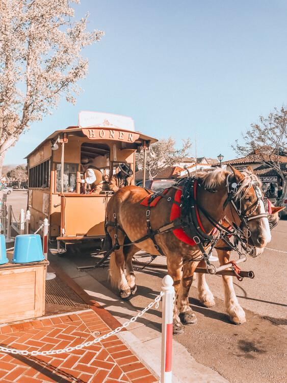 Horse Drawn Carriage Trolley in Solvang