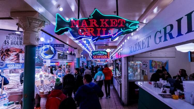 Seafood stands at Pike Place Market