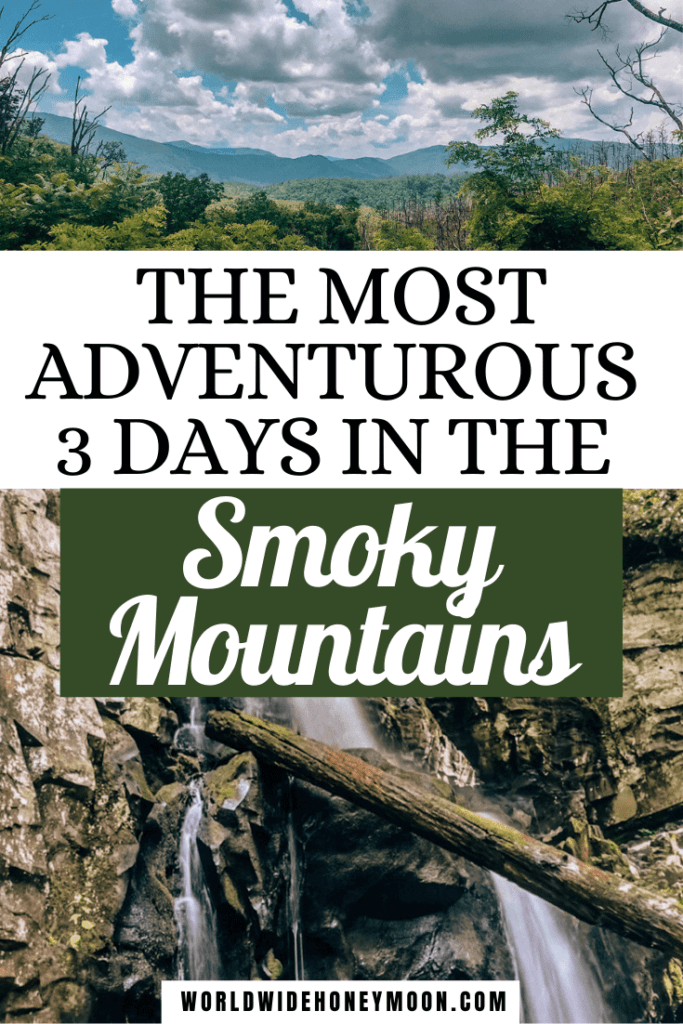 The Most Adventurous 3 Days in the Smoky Mountains | Top photo is a view of the mountains and greenery nearby, the bottom is of Baskin Creek Falls