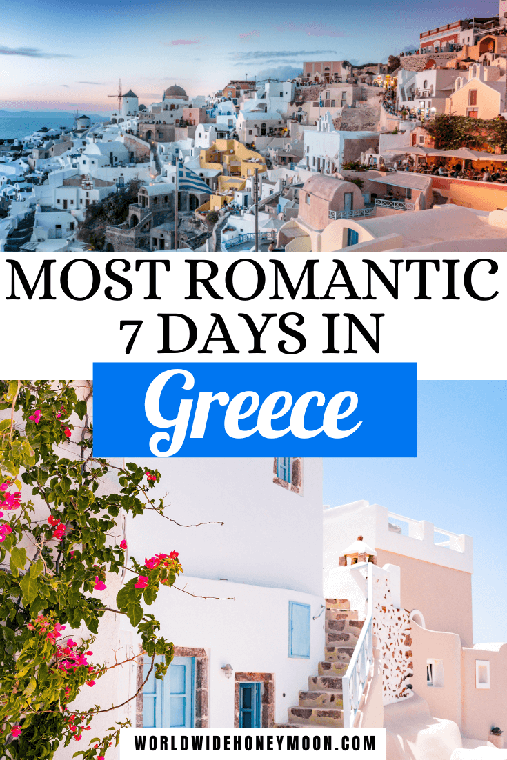 Most Romantic 7 Days in Greece | Top photo is a Santorini Sunset over Oia, Bottom is a white washed island building
