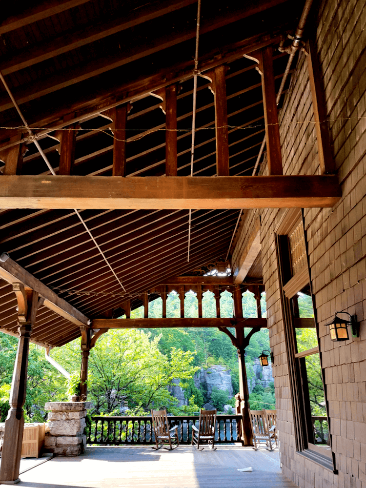 Porch at the Mohonk Mountain House - Best Fall Vacation in the US