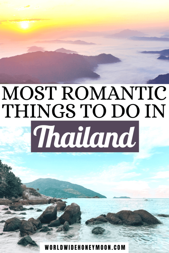 Most Romantic Things to do in Thailand   Top photo is islands at sunset and the bottom is a beach photo with a mountain in the background in Koh Lipe