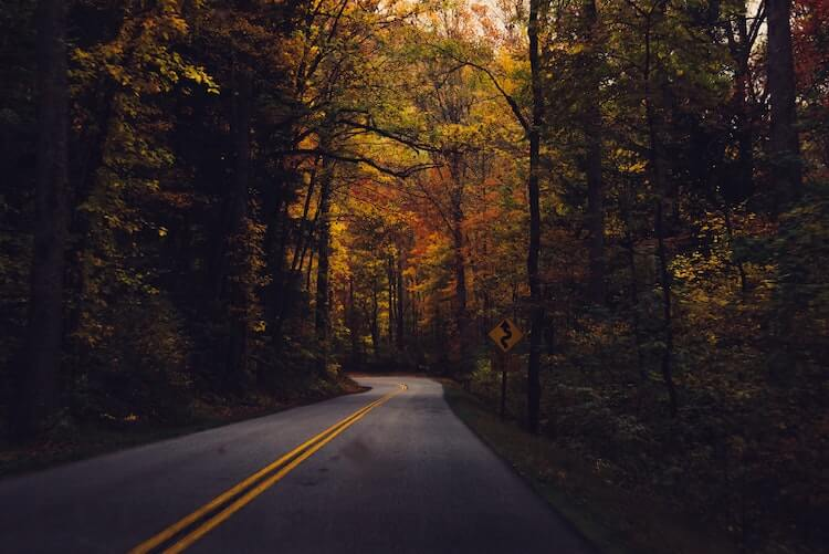 Romantic fall drive through the Great Smoky Mountains National Park