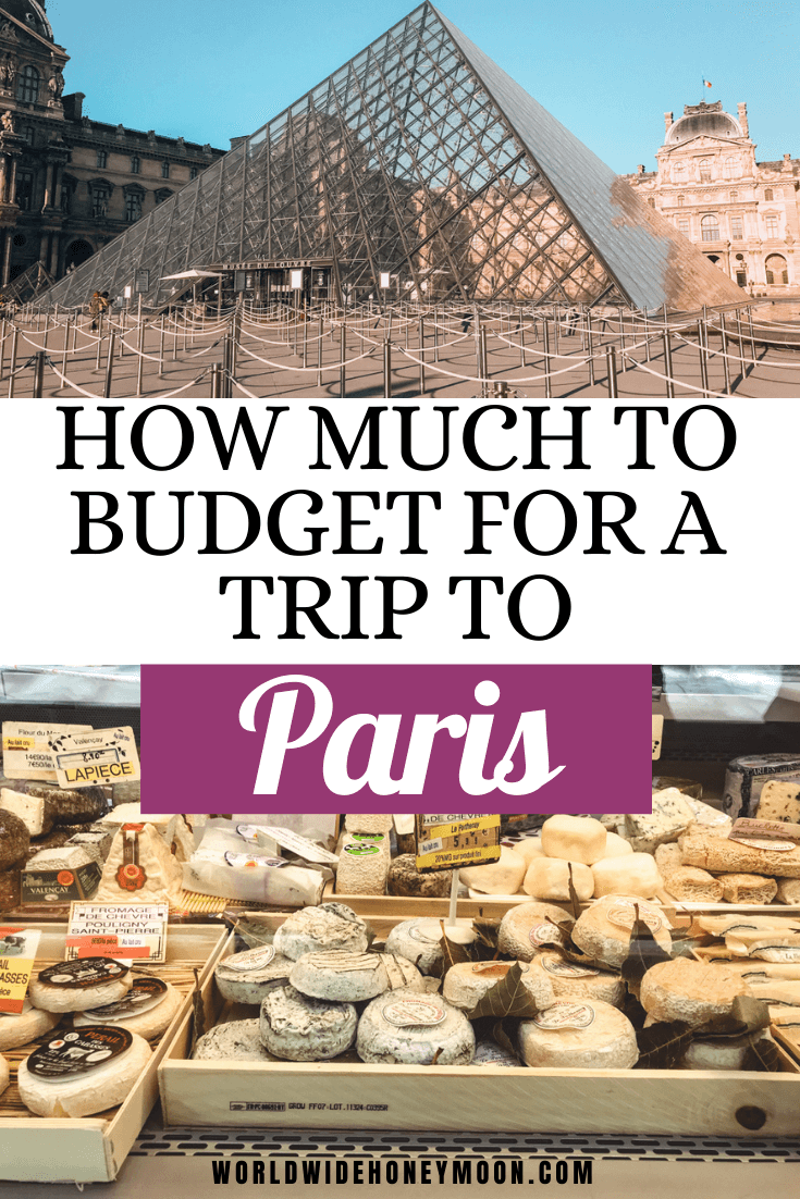 How Much to Budget for a Trip to Paris | Top photo is the Louvre pyramid, bottom is a cheese stand