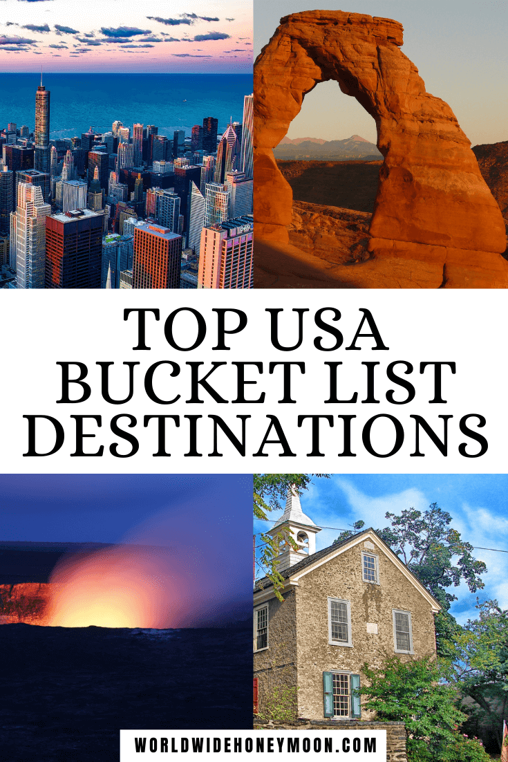 Top USA Bucket List Destinations | Top right photos going clockwise include: main Arch in Arches National Park, brick church, active volcano at night at Hawaii Volcanoes National Park, and Chicago skyline in the evening
