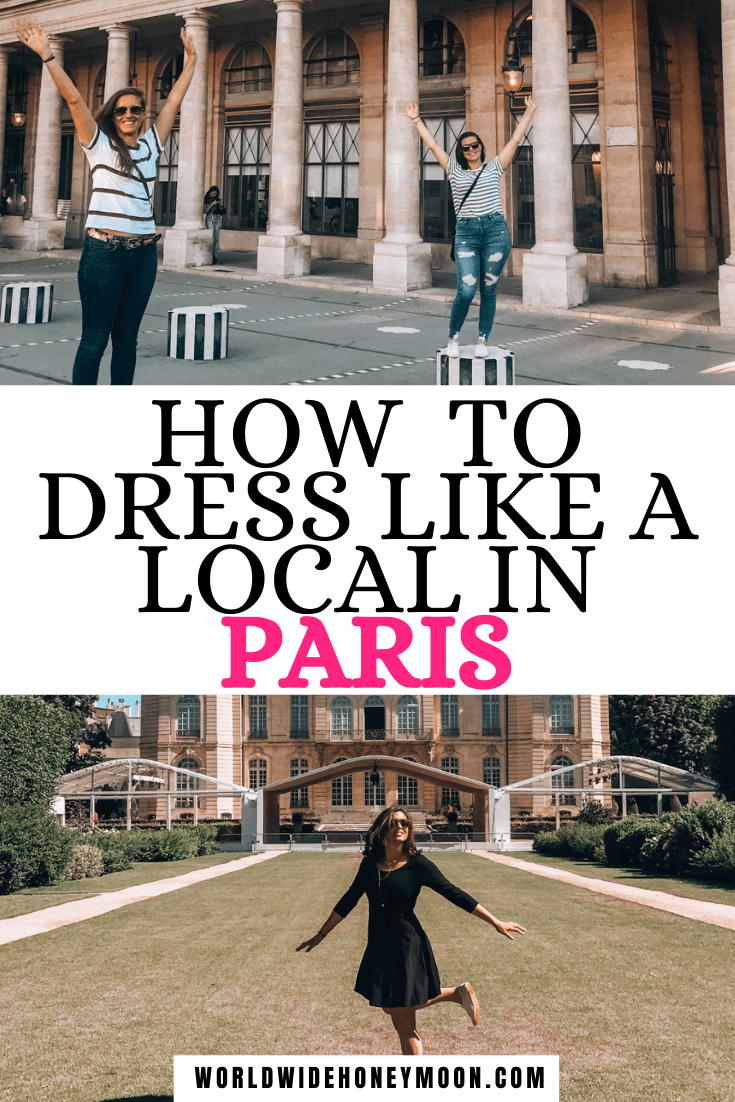How to Dress Like a Local in Paris | Top photo is Alice and Kat on columns wearing jeans and striped shirts, bottom is Kat wearing a black dress