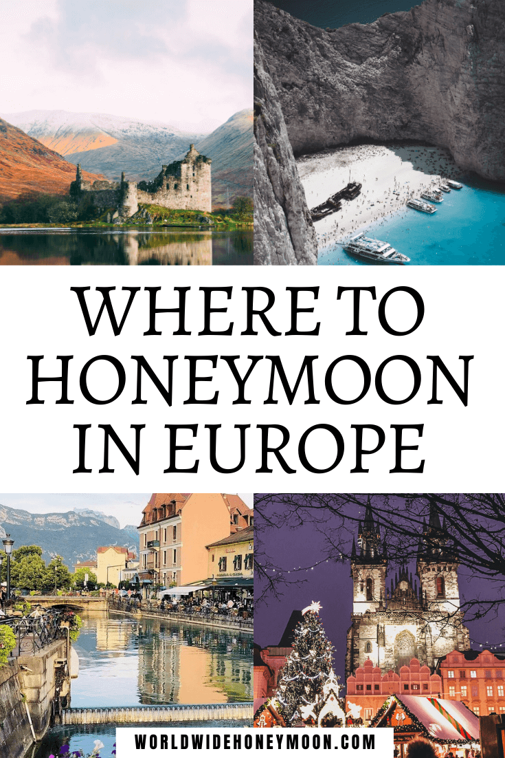 Where to Honeymoon in Europe | Top right going clockwise photos include a Greek beach, Prague Christmas Market, Canal in Annecy, and Castle in Scotland