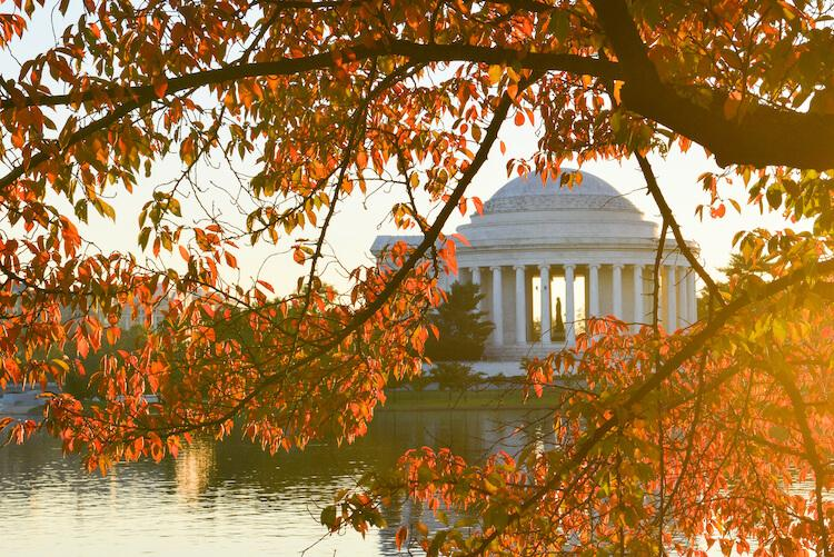 tidal-basin-washington-dc in the autumn - Best Places to Visit in October in USA