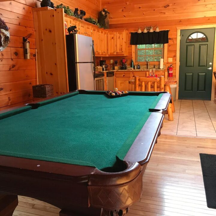 Inside of Cabin with Pool Table and Kitchen - Best Cabins in Gatlinburg - Best Airbnb Gatlinburg - Best Airbnb Pigeon Forge