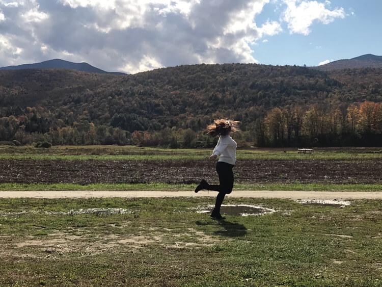 Kat Spinning in Vermont