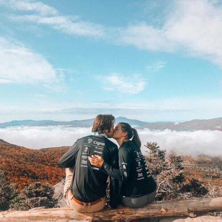 Kat and Chris Kissing at Stowe Pinnacle