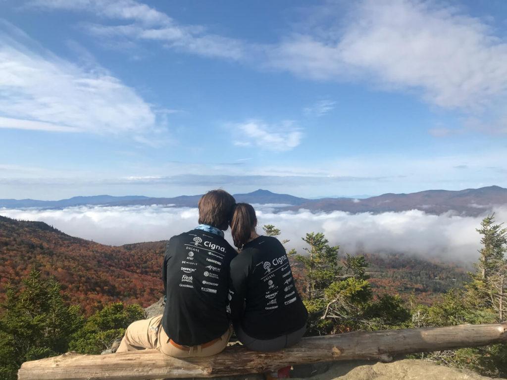 Kat and Chris at the top of Stowe Pinnacle