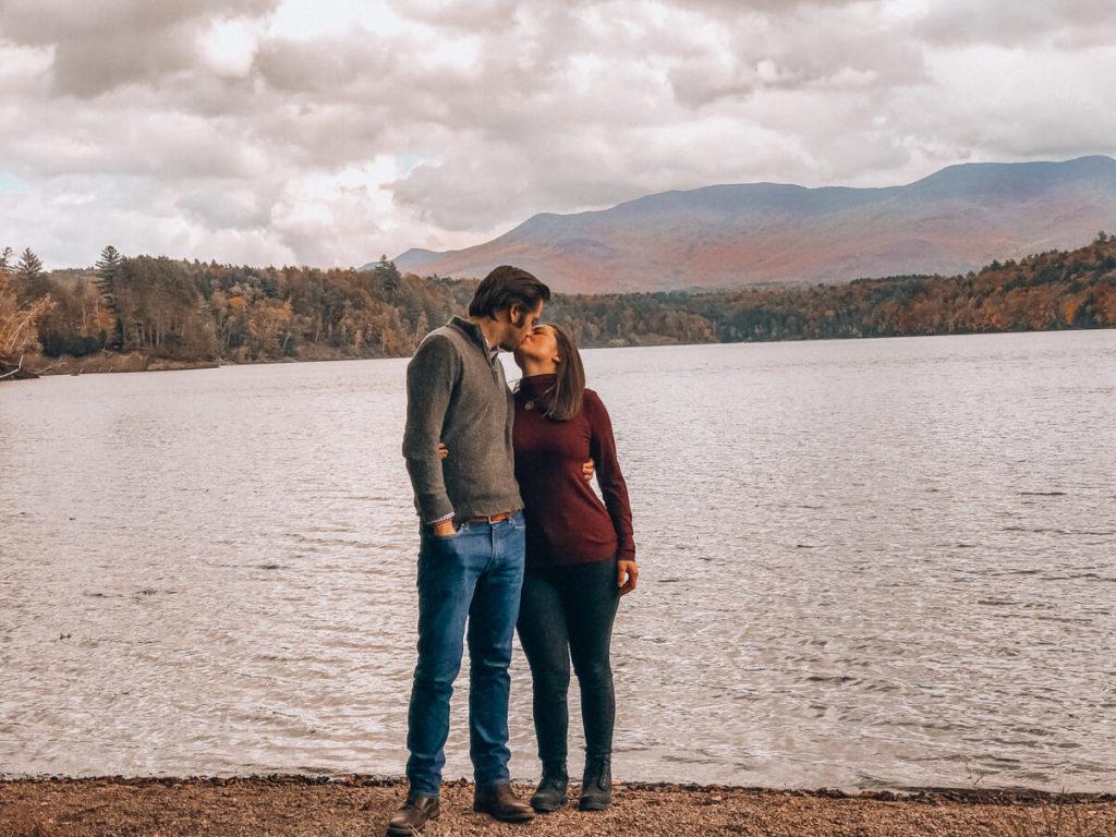 Kat and Chris kisses at Waterbury Resevior