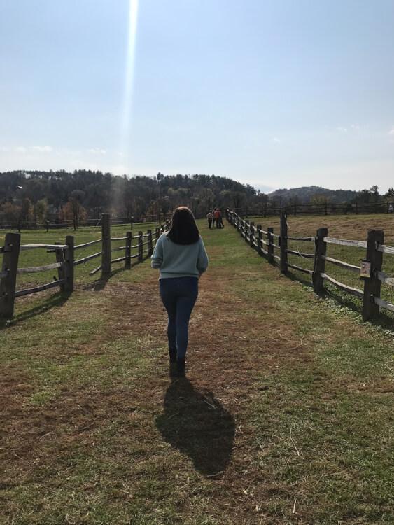 Kat walking at Billings Farm