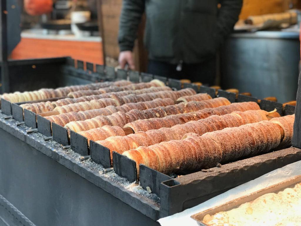 Chimney cakes being prepared - Prague Christmas Market food