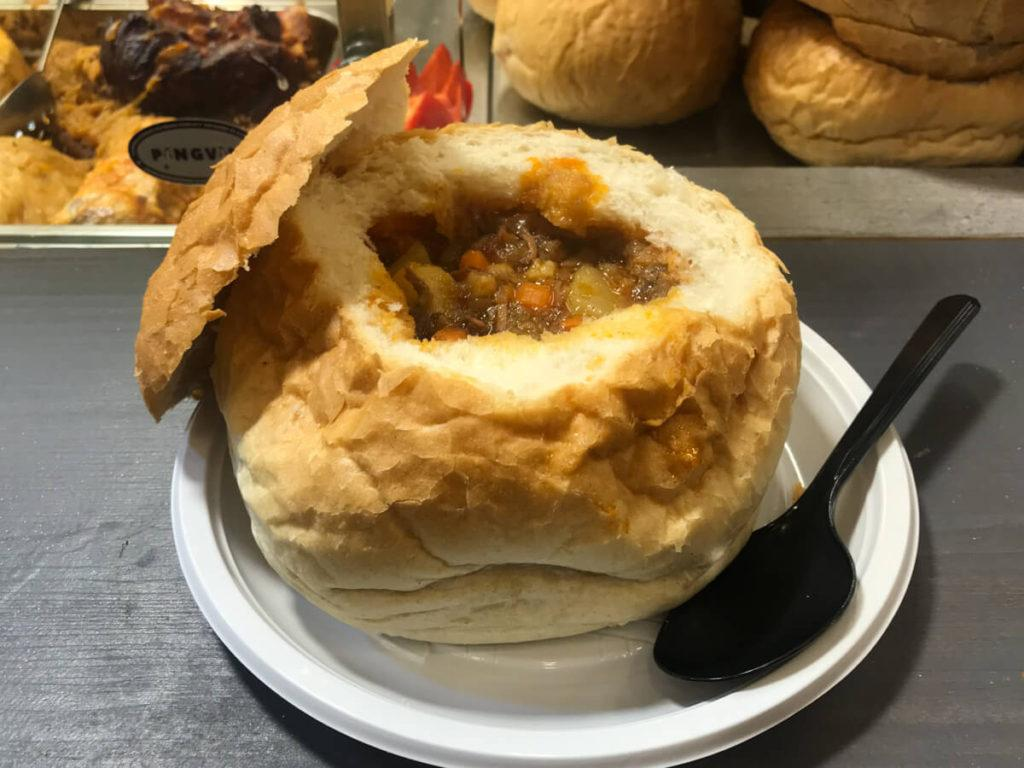 Goulash in a Bread Bowl in Budapest
