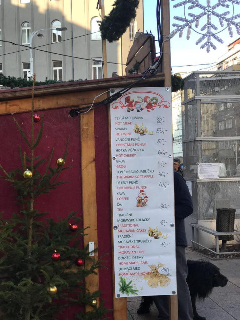 Menu of Prague Christmas Market Treats