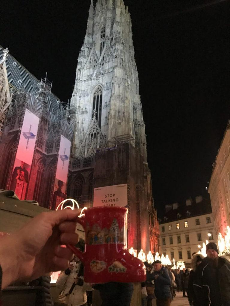 Mulled Wine mug in front of St. Stephen's Cathedral in Vienna