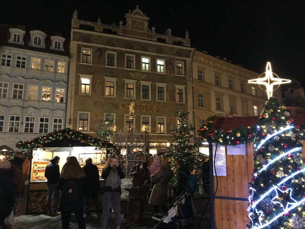 Small Prague Christmas Market at night