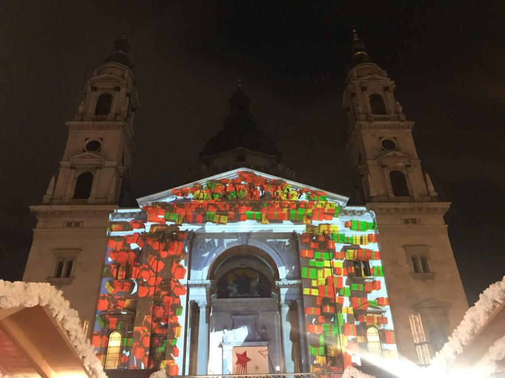 St. Stephen's Basilica lit up