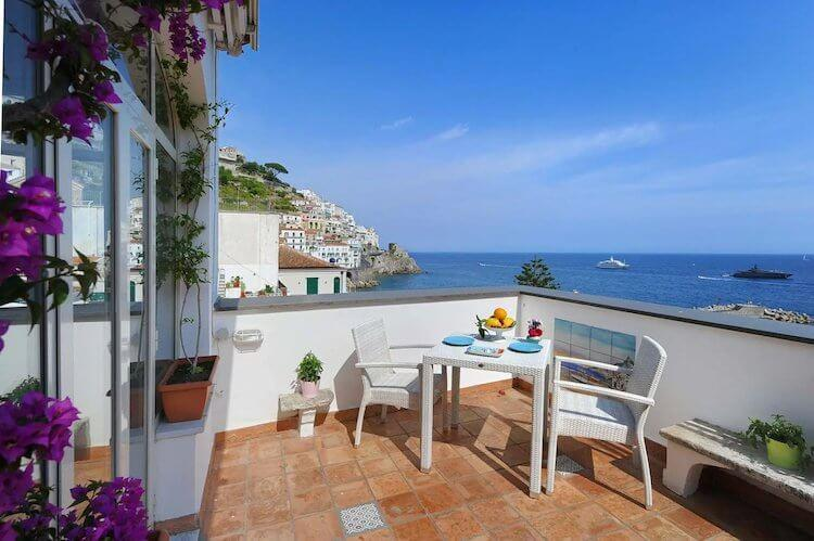 Amalfi Coast Airbnb with views over the sea at the village and beaches