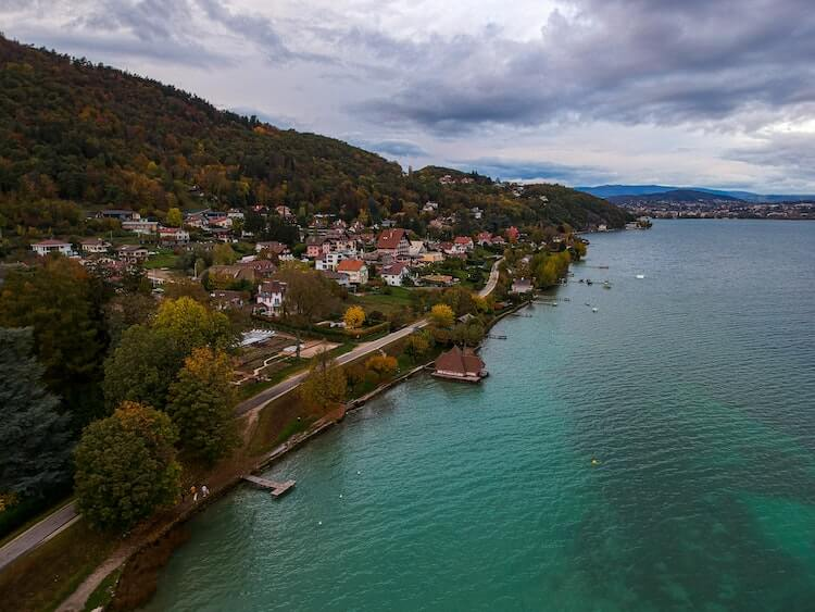 Bird's Eye View Over Lake Annecy in France