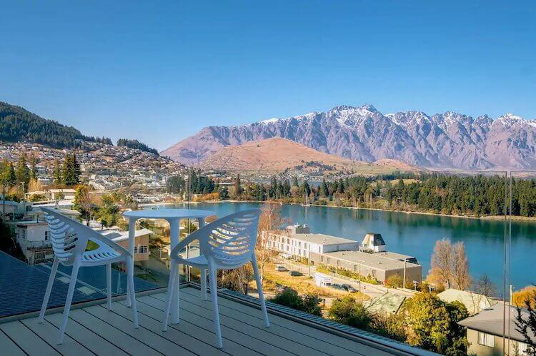 Queenstown Airbnb views from the back deck- mountains and lake in the background