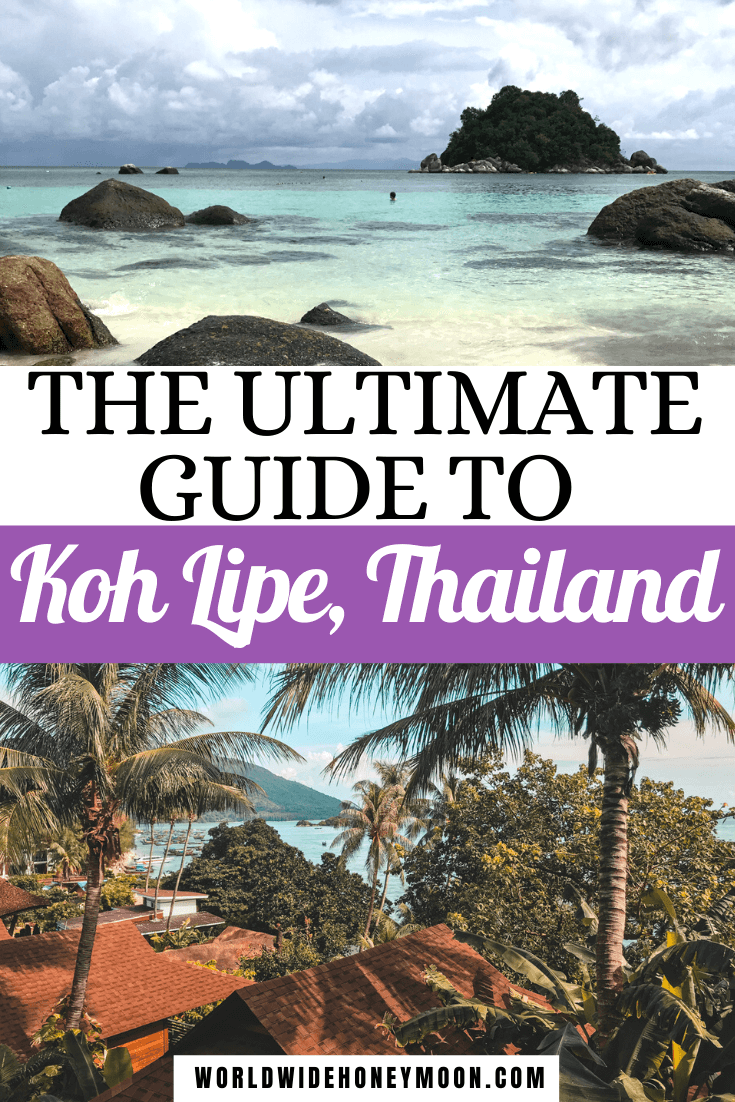 photos of the beautiful clear waters of Koh Lipe and the island a little ways out as well as a view overlooking the beach from the hotel in this guide to Koh Lipe Pin