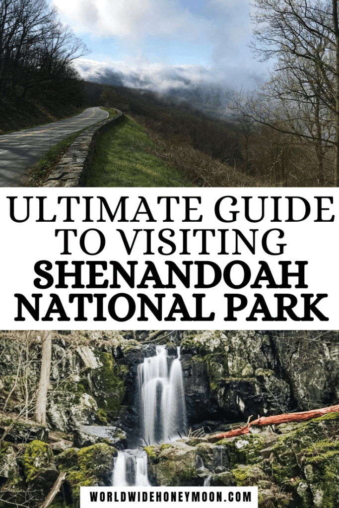 Visit Shenandoah National Park confidently in this podcast episode. Pin features a photo of clouds clearing off Skyline Drive and Doyles River Falls