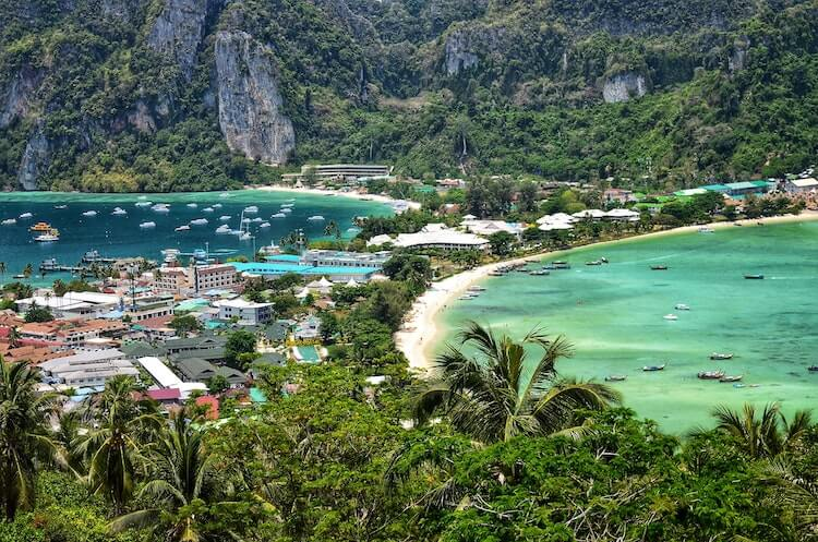 Koh Phi Phi Viewpoint with views over the sand strip