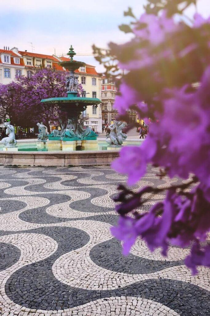 Lisbon tiled streets and flowers