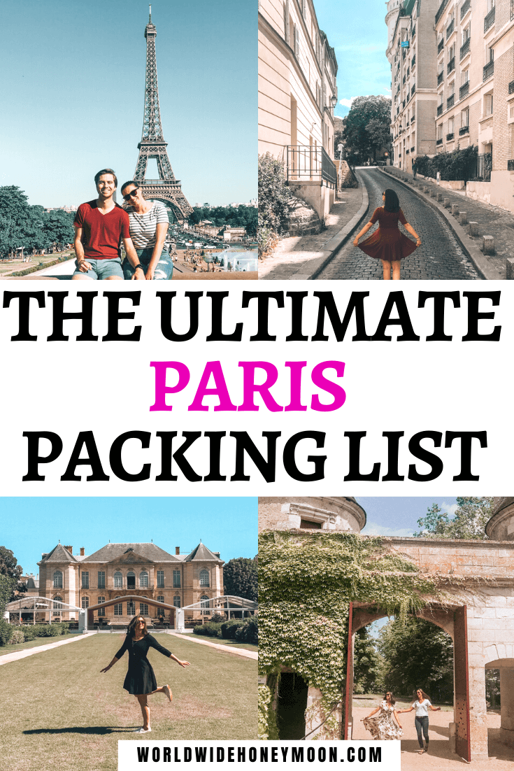 What to wear in Paris and the ultimate Paris packing list with photos showing dresses and shirts and jeans to wear in Paris