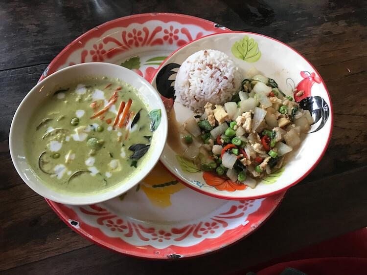 Thai Farm Cooking School meals we made- green curry and veggie appetizer