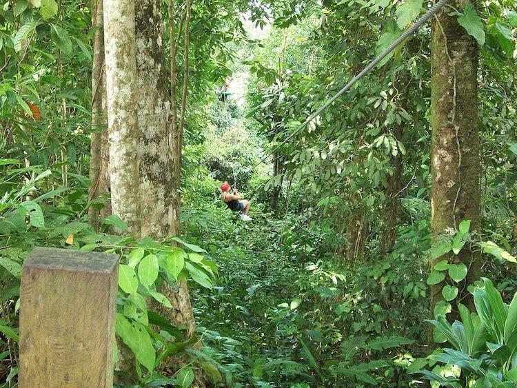 Ziplining is one of the most romantic things to do in Thailand - Person zip lining in a jungle