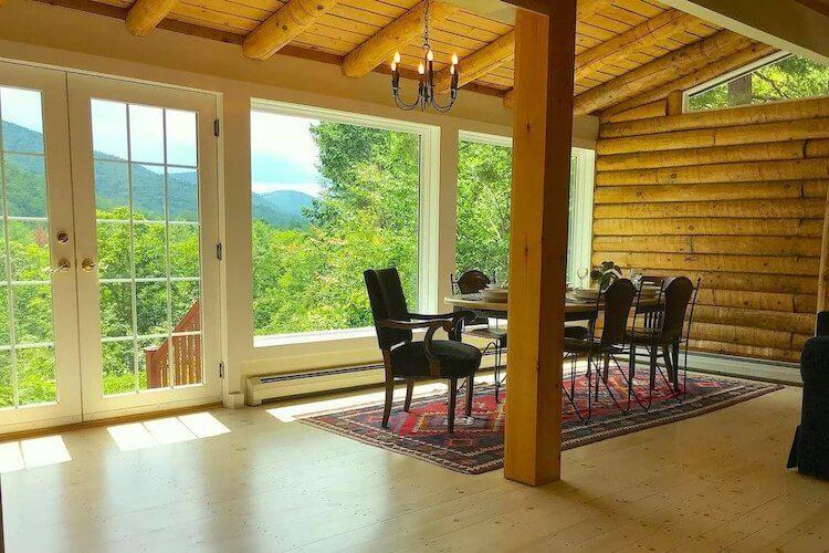 Brattleboro Vermont VRBO with amazing views of the mountains from the dining area. Cabin is wood
