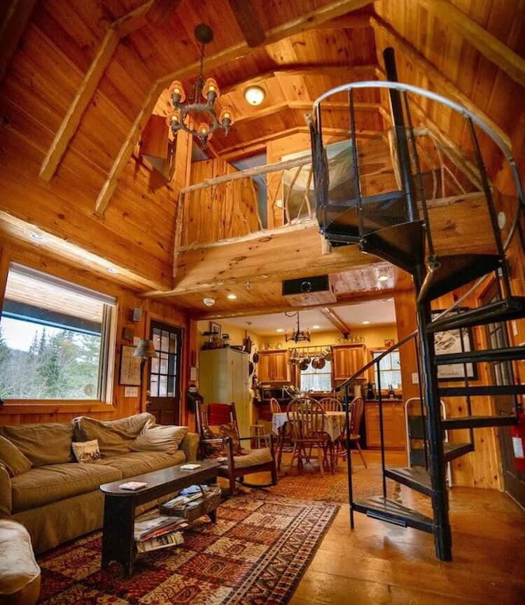 Romantic VRBO with Treehouse vibes and two stories tall complete with a spiral staircase
