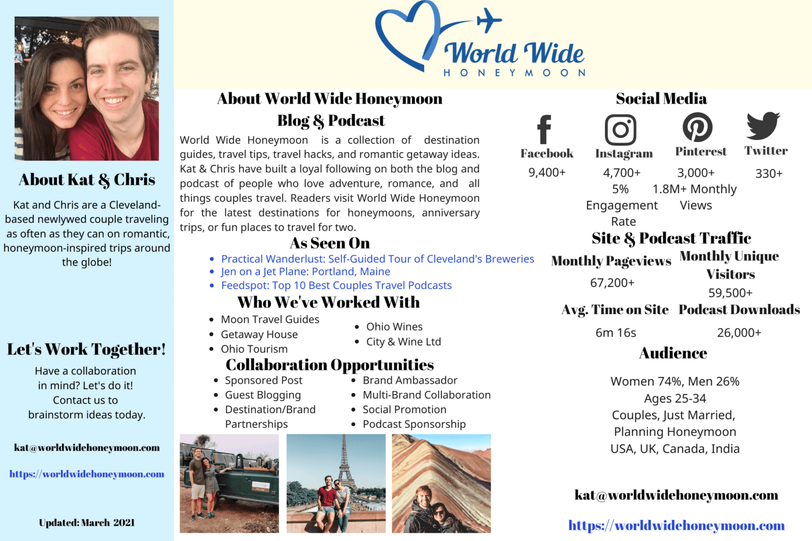 World Wide Honeymoon Media Kit