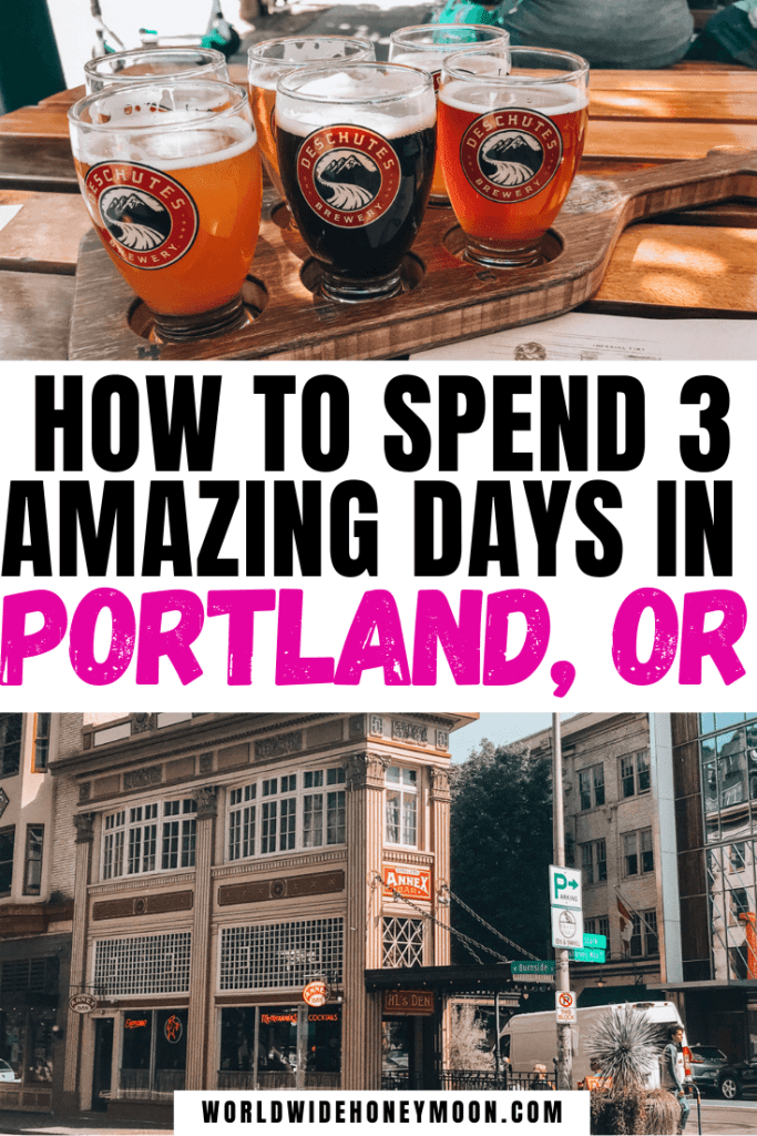 3 Days in Portland | Top photo is a flight of beer from Deschutes Brewery, bottom is a photo of Annex Bar