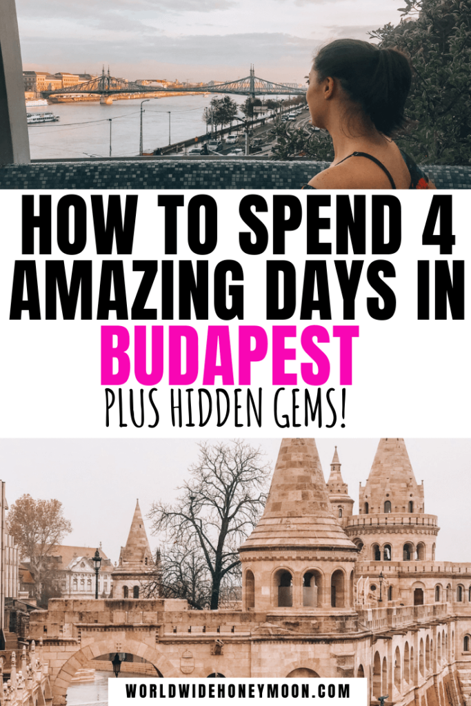 4 Days in Budapest: Top photo is Kat sitting in a hot tub overlooking the Danube, bottom photo is Fisherman's Bastion