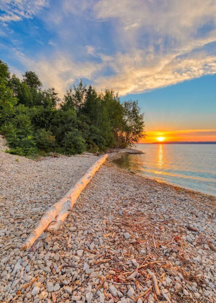 Beach at sunset in Door County, Wisconsin