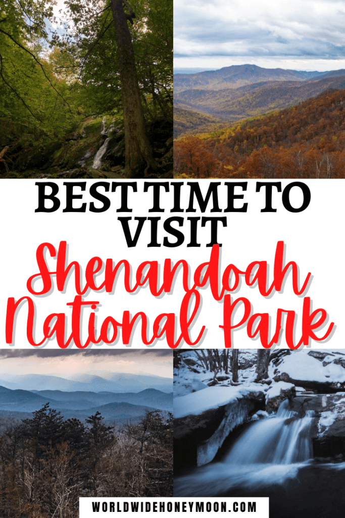 Best Time to Visit Shenandoah National Park | Top right going clockwise includes an overlook from Skyline drive with mountains and fall foliage, a waterfall in the winter, an overlook at sunset with mountains, and a summer day at a waterfall
