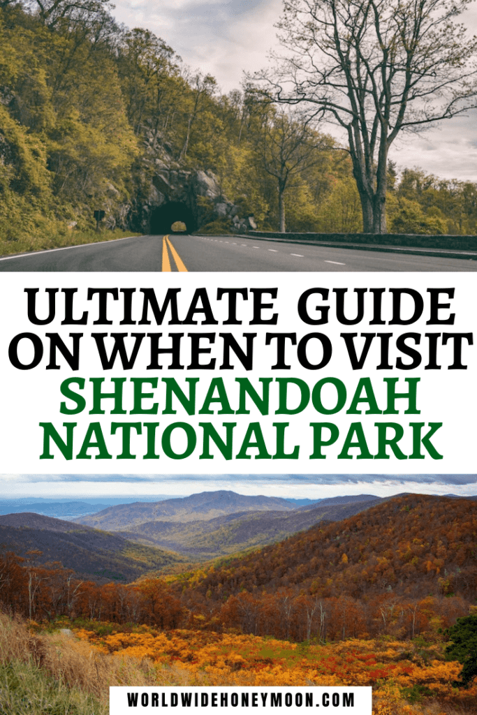 Best Time to Visit Shenandoah National Park | Top photo is Mary's Rock Tunnel on Skyline Drive in the summer and the bottom is an overlook with mountains during the fall with fall foliage