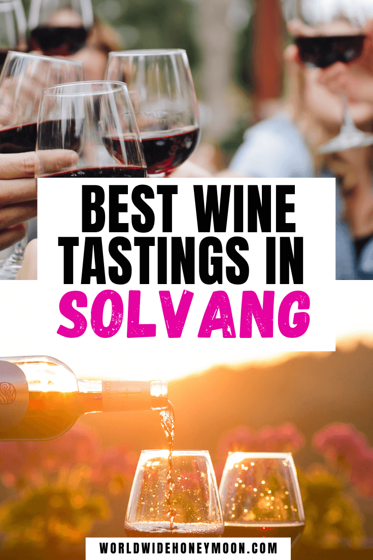 Best Wine Tastings in Solvang: Top photo are people going to cheers with red wine, bottom photo is wine being poured into two glasses at sunset