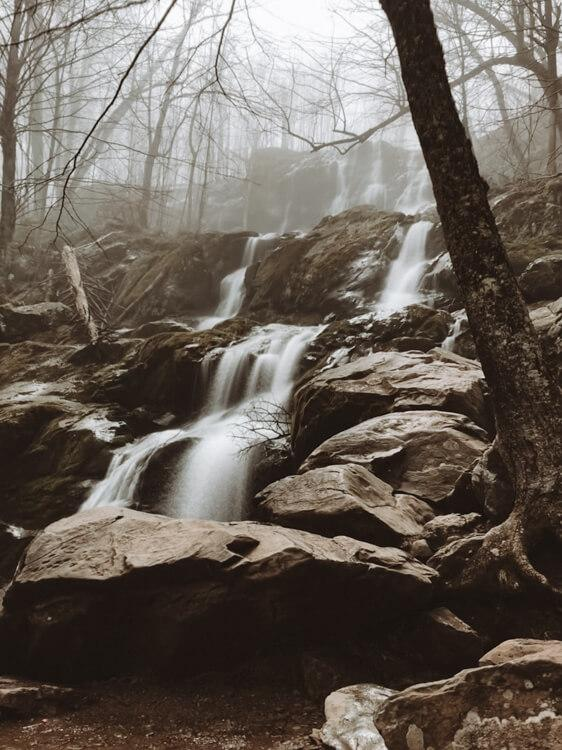 Dark Hollow Falls in a moody setting