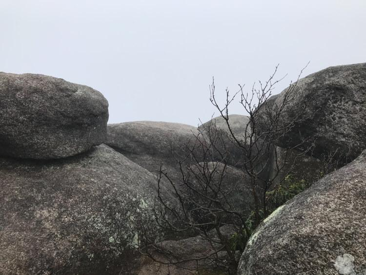 False summit with views of fog