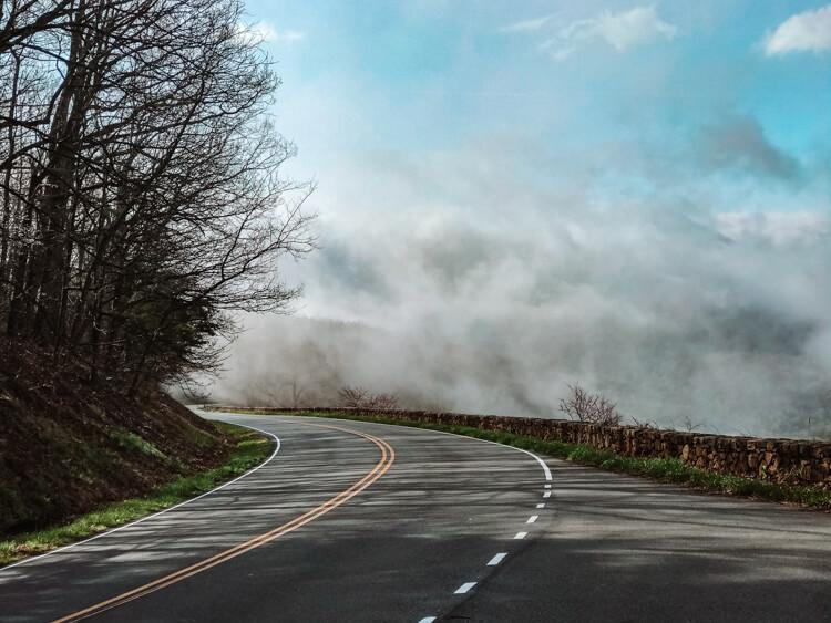 Fog and sunshine while driving along Skyline Drive in Shenandoah National Park