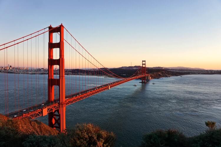 Golden Gate Bridge at sunset in San Francisco